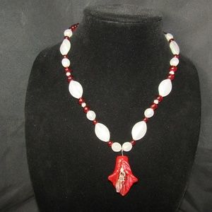 Jewelry - Blood red blown glass lily & opalite necklace